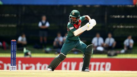 Mohammad Tawhid Hridoy of Bangladesh bats during the ICC U19 Cricket World Super League Cup Quarter Final 3 match between Bangladesh and South Africa at JB Marks Oval on January 30, 2020 in Potchefstroom, South Africa.