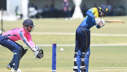 Navod Paranavithana of Sri Lanka during the ICC U19 Cricket World Cup Plate Semi-Final match between Sri Lanka and Scotland at Absa Puk Oval on January 30, 2020 in Potchefstroom, South Africa.