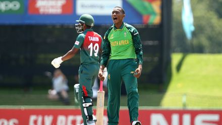 Pheko Moletsane of South Africa celebrates the first wicket during the ICC U19 Cricket World Super League Cup Quarter Final 3 match between Bangladesh and South Africa at JB Marks Oval on January 30, 2020 in Potchefstroom, South Africa.