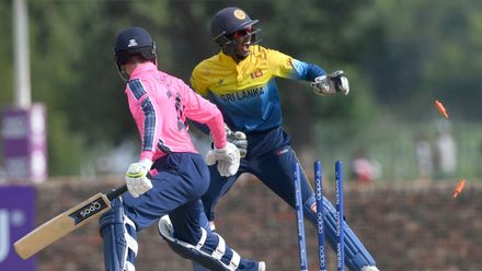 Liam Naylor of Scotland stumped by Kamil Mishara of Sri Lanka during the ICC U19 Cricket World Cup Plate Semi-Final match between Sri Lanka and Scotland at Absa Puk Oval on January 30, 2020 in Potchefstroom, South Africa.
