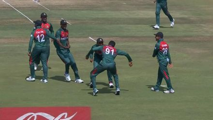 ICC U19 CWC: SA v BAN – Bangladesh players celebrate with a special dance routine
