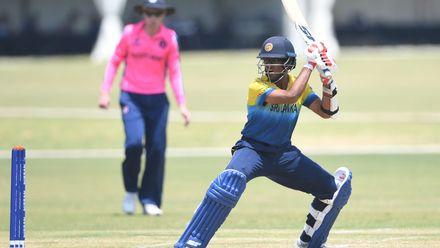 Ravindu Rasantha of Sri Lanka during the ICC U19 Cricket World Cup Plate Semi-Final match between Sri Lanka and Scotland at Absa Puk Oval on January 30, 2020 in Potchefstroom, South Africa.