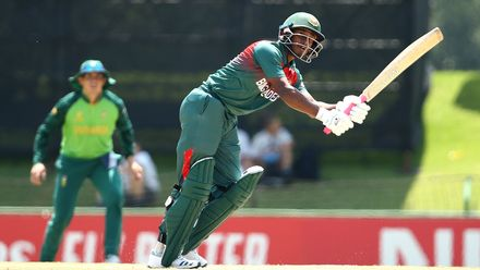 Tanzid Hasan Tamim of Bangladesh bats during the ICC U19 Cricket World Super League Cup Quarter Final 3 match between Bangladesh and South Africa at JB Marks Oval on January 30, 2020 in Potchefstroom, South Africa.