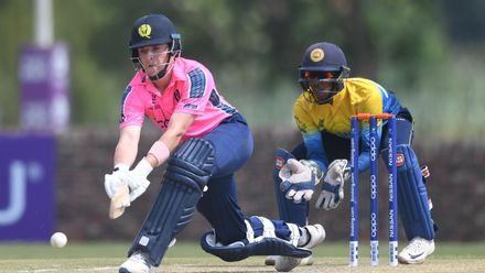 Jasper Davidson of Scotland during the ICC U19 Cricket World Cup Plate Semi-Final match between Sri Lanka and Scotland at Absa Puk Oval on January 30, 2020 in Potchefstroom, South Africa.