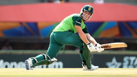 Bryce Parsons of South Africa sweeps during the ICC U19 Cricket World Super League Cup Quarter Final 3 match between Bangladesh and South Africa at JB Marks Oval on January 30, 2020 in Potchefstroom, South Africa.
