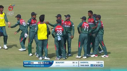 ICC U19 CWC: SA v BAN – Tanzim Hasan takes a screamer to see off Lees