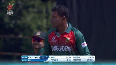 ICC U19 CWC: SA v BAN – Bird flicks, but is caught at midwicket