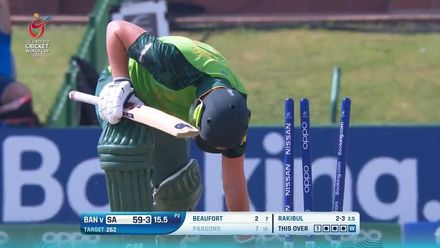 ICC U19 CWC: SA v BAN – Parsons is caught in two minds, bowled
