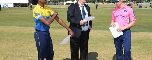 Angus Guy of Scotland, match referee Shaid Wadvalla and Navod Paranavithana of Sri Lanka during the ICC U19 Cricket World Cup Plate Semi-Final match between Sri Lanka and Scotland at Absa Puk Oval on January 30, 2020 in Potchefstroom, South Africa.