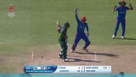 ICC U19 CWC: AFG v PAK – Fahad lets one go right into his stumps