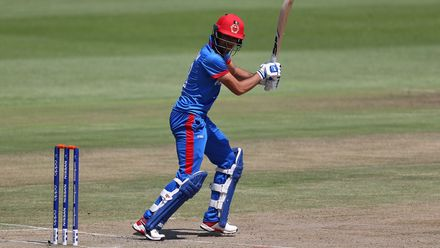 Ibrahim Zadran of Afghanistan hits the ball towards the boundary during the ICC U19 Cricket World Super League Quarter Final match between Afghanistan and Pakistan at Willowmoore Park on January 31, 2020 in Benoni, South Africa.