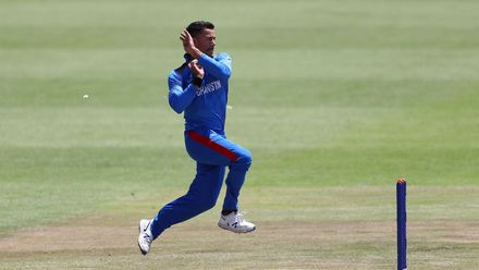 Abdul Rahman Rahmani of Afghanistan in action during the ICC U19 Cricket World Super League Quarter Final match between Afghanistan and Pakistan at Willowmoore Park on January 31, 2020 in Benoni, South Africa.