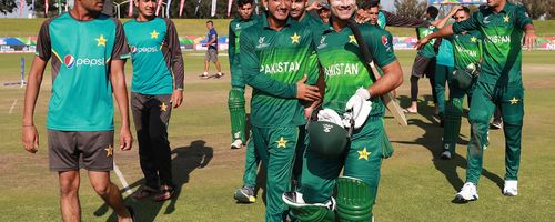 Pakistan celebrate their win over Afghanistan during the ICC U19 Cricket World Super League Quarter Final match between Afghanistan and Pakistan at Willowmoore Park on January 31, 2020 in Benoni, South Africa.