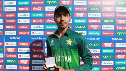 Mohammad Huraira of Pakistan pictured with the 'Player of the Match' award after the ICC U19 Cricket World Super League Quarter Final match between Afghanistan and Pakistan at Willowmoore Park on January 31, 2020 in Benoni, South Africa.
