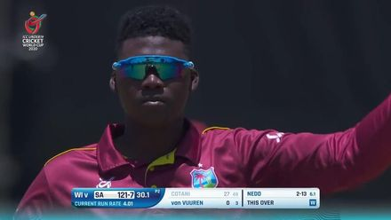 ICC U19 CWC: SA v WI – Cotani comes down the track, but is stumped