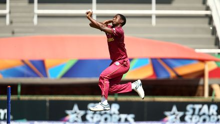 Ramon Simmonds of West Indies bowls during the ICC U19 Cricket World Super League Play-Off Semi-Final match between West Indies and South Africa at JB Marks Oval on February 01, 2020 in Potchefstroom, South Africa.