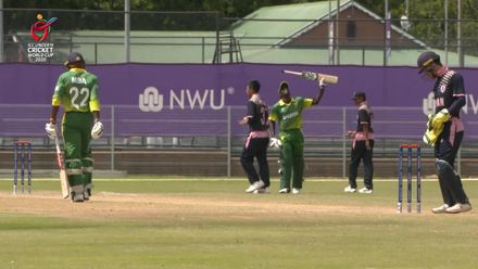 ICC U19 CWC: NGR v JPN – Sulaimon Runsewe celebrates reaching his half-century