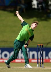 Merrick Brett of South Africa bowls during the ICC U19 Cricket World Super League Play-Off Semi-Final match between West Indies and South Africa at JB Marks Oval on February 01, 2020 in Potchefstroom, South Africa.