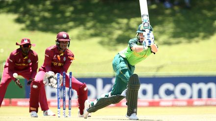 Jack Lees of South Africa is bowled by Ashmead Nedd of West Indies during the ICC U19 Cricket World Super League Play-Off Semi-Final match between West Indies and South Africa at JB Marks Oval on February 01, 2020 in Potchefstroom, South Africa.