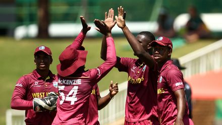 Jayden Seales of West Indies celebrates taking the wicket of Bryce Parsons of South Africa during the ICC U19 Cricket World Super League Play-Off Semi-Final match between West Indies and South Africa at JB Marks Oval on February 01, 2020 in Potchefstroom.