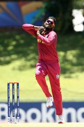 Matthew Patrick of West Indies bowls during the ICC U19 Cricket World Super League Play-Off Semi-Final match between West Indies and South Africa at JB Marks Oval on February 01, 2020 in Potchefstroom, South Africa.