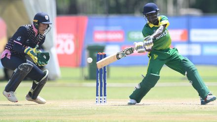 Sulaimon Runsewe of Nigeria during the ICC U19 Cricket World Cup 15th Place Play-Off match between Nigeria and Japan at Ibbies Oval on February 1, 2020 in Potchefstroom, South Africa.