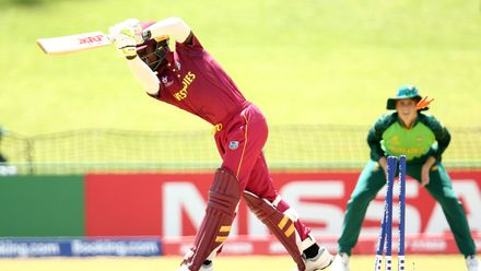 Kevlon Anderson of West Indies is bowled during the ICC U19 Cricket World Super League Play-Off Semi-Final match between West Indies and South Africa at JB Marks Oval on February 01, 2020 in Potchefstroom, South Africa.