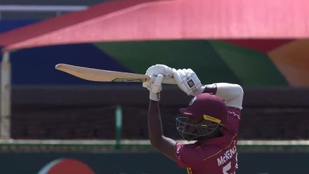 ICC U19 CWC: SA v WI – McKenzie holds his pose after a loft over long off