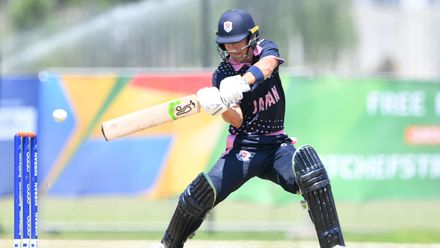 Marcus Thurgate of Japan during the ICC U19 Cricket World Cup 15th Place Play-Off match between Nigeria and Japan at Ibbies Oval on February 1, 2020 in Potchefstroom, South Africa.