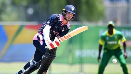 Ashley Thurgate of Japan during the ICC U19 Cricket World Cup 15th Place Play-Off match between Nigeria and Japan at Ibbies Oval on February 1, 2020 in Potchefstroom, South Africa.