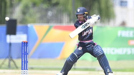 Shu Noguchi of Japan during the ICC U19 Cricket World Cup 15th Place Play-Off match between Nigeria and Japan at Ibbies Oval on February 1, 2020 in Potchefstroom, South Africa.