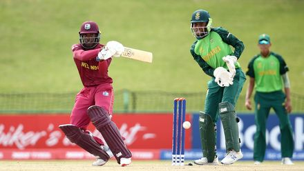 Nyeem Young of West Indies bats with Khanya Cotani of South Africa keeping wicket during the ICC U19 Cricket World Super League Play-Off Semi-Final match between West Indies and South Africa at JB Marks Oval on February 01, 2020 in Potchefstroom.