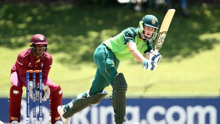 Jack Lees of South Africa bats with Leonardo Julien of West Indies keeping wicket during the ICC U19 Cricket World Super League Play-Off Semi-Final match between West Indies and South Africa at JB Marks Oval on February 01, 2020 in Potchefstroom.