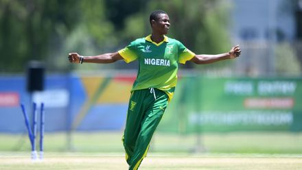 Ifeanyichukwu Uboh of Nigeria celebrates the wicket of Sora Ichiki of Japan during the ICC U19 Cricket World Cup 15th Place Play-Off match between Nigeria and Japan at Ibbies Oval on February 1, 2020 in Potchefstroom, South Africa.