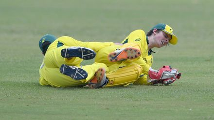 Lachlan Hearne runs into Patrick Rowe of Australia as he takes the catch for the wicket of Shafiqullah Ghafari of Afghanistan at Absa Puk Oval on February 2, 2020.
