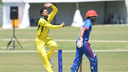 Tanveer Sangha of Australia during the ICC U19 Cricket World Cup Super League Play-Off Semi-Final match between Australia and Afghanistan at Absa Puk Oval on February 2, 2020 in Potchefstroom, South Africa.