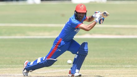 Imran Mir of Afghanistan during the ICC U19 Cricket World Cup Super League Play-Off Semi-Final match between Australia and Afghanistan at Absa Puk Oval on February 2, 2020 in Potchefstroom, South Africa.