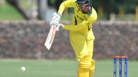 Sam Fanning of Australia during the ICC U19 Cricket World Cup Super League Play-Off Semi-Final match between Australia and Afghanistan at Absa Puk Oval on February 2, 2020 in Potchefstroom, South Africa.