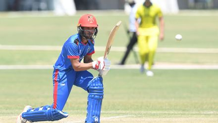 Farhan Zakhail of Afghanistan during the ICC U19 Cricket World Cup Super League Play-Off Semi-Final match between Australia and Afghanistan at Absa Puk Oval on February 2, 2020 in Potchefstroom, South Africa.