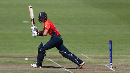 Jordan Cox of England hits the ball towards the boundary during the ICC U19 Cricket World Cup Plate Final match between Sri Lanka and England at Willowmoore Park on February 03, 2020 in Benoni, South Africa.