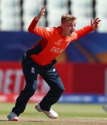 Lewis Goldsworthy of England celebrates bowling Ahan Sanchitha of Sri Lanka for LBW during the ICC U19 Cricket World Cup Plate Final match between Sri Lanka and England at Willowmoore Park on February 03, 2020 in Benoni, South Africa.
