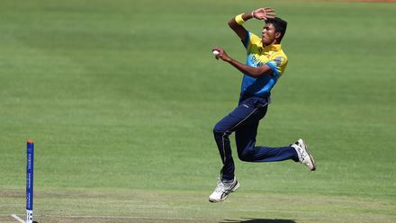 Dilshan Madushanka of Sri Lanka in action during the ICC U19 Cricket World Cup Plate Final match between Sri Lanka and England at Willowmoore Park on February 03, 2020 in Benoni, South Africa.