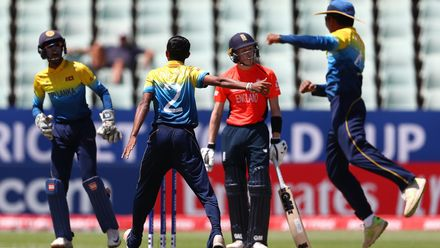 Dilum Sudheera Thilakarathna of Sri Lanka is congratulated on bowling Jordan Cox of England for LBW during the ICC U19 Cricket World Cup Plate Final match between Sri Lanka and England at Willowmoore Park on February 03, 2020 in Benoni, South Africa.