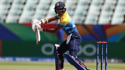 Kamil Mishara of Sri Lanka hits the ball towards the boundary during the ICC U19 Cricket World Cup Plate Final match between Sri Lanka and England at Willowmoore Park on February 03, 2020 in Benoni, South Africa.