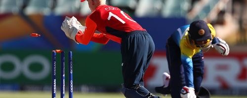 Jordan Cox of England stumps Chamidu Wijesinghe of Sri Lanka during the ICC U19 Cricket World Cup Plate Final match between Sri Lanka and England at Willowmoore Park on February 03, 2020 in Benoni, South Africa.