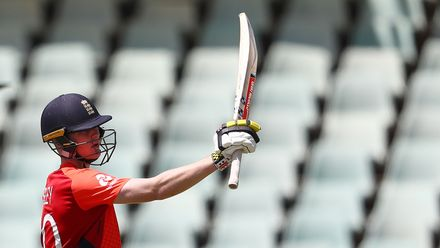 Daniel Mousley of England celebrates his half century during the ICC U19 Cricket World Cup Plate Final match between Sri Lanka and England at Willowmoore Park on February 03, 2020 in Benoni, South Africa.