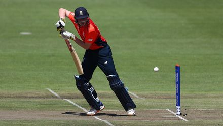 Daniel Mousley of England hits the ball towards the boundary during the ICC U19 Cricket World Cup Plate Final match between Sri Lanka and England at Willowmoore Park on February 03, 2020 in Benoni, South Africa.