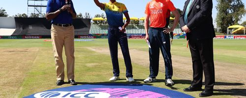 Nipun Kenaththage of Sri Lanka and George Balderson of England pictured during the coin toss ahead of the ICC U19 Cricket World Cup Plate Final match between Sri Lanka and England at Willowmoore Park on February 03, 2020 in Benoni, South Africa.