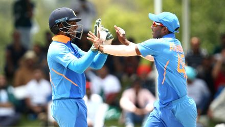 India players celebrate a run out during the ICC U19 Cricket World Cup Super League Semi-Final match between India and Pakistan at JB Marks Oval on February 04, 2020 in Potchefstroom, South Africa.
