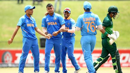 Sushant Mishra of India celebrates a wicket during the ICC U19 Cricket World Cup Super League Semi-Final match between India and Pakistan at JB Marks Oval on February 04, 2020 in Potchefstroom, South Africa.